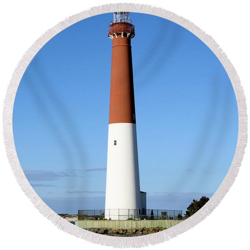Barnegat Lighthouse Round Beach Towel featuring the photograph Blue Sky Blue Sea And Barnegat Light by Christiane Schulze Art And Photography