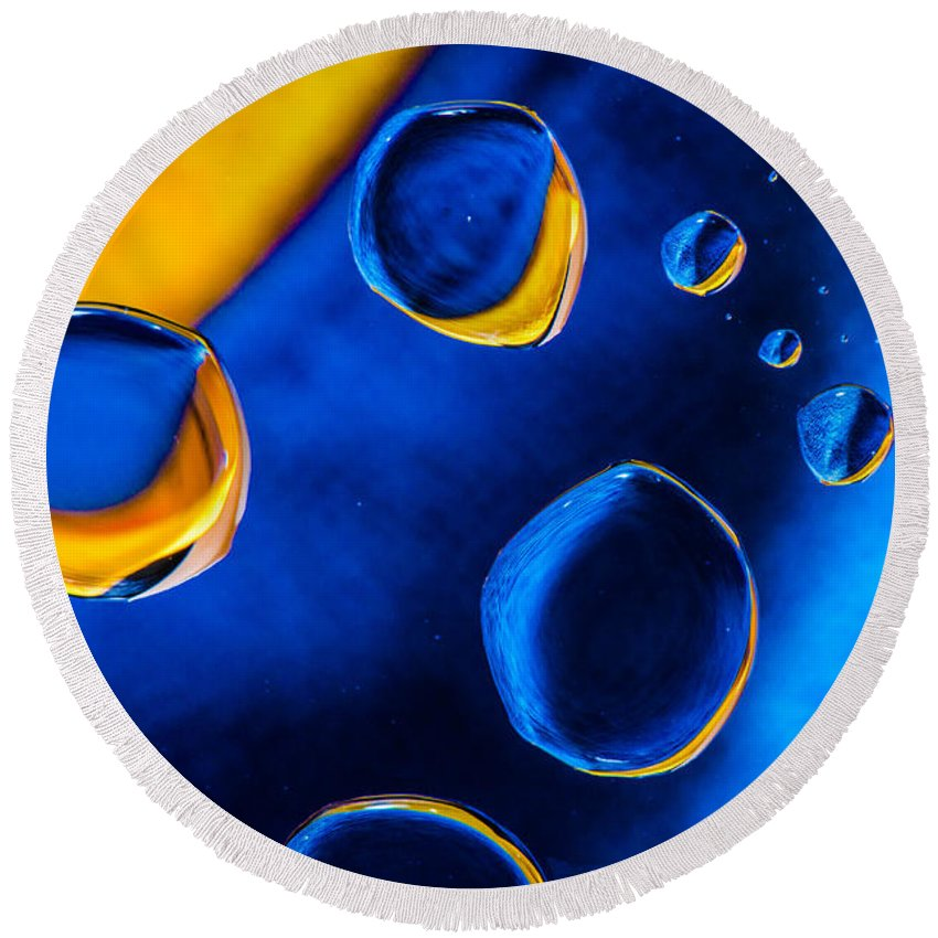 Water Macro Studio Water Drops Blue Modern Art Bruce Pritchett Photography Round Beach Towel featuring the photograph Blue Space Ice by Bruce Pritchett