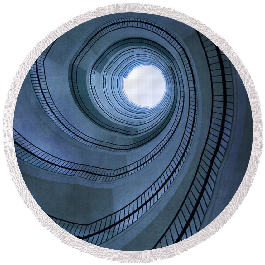 Handrail Round Beach Towel featuring the photograph Blue Spiral Staircaise by Jaroslaw Blaminsky