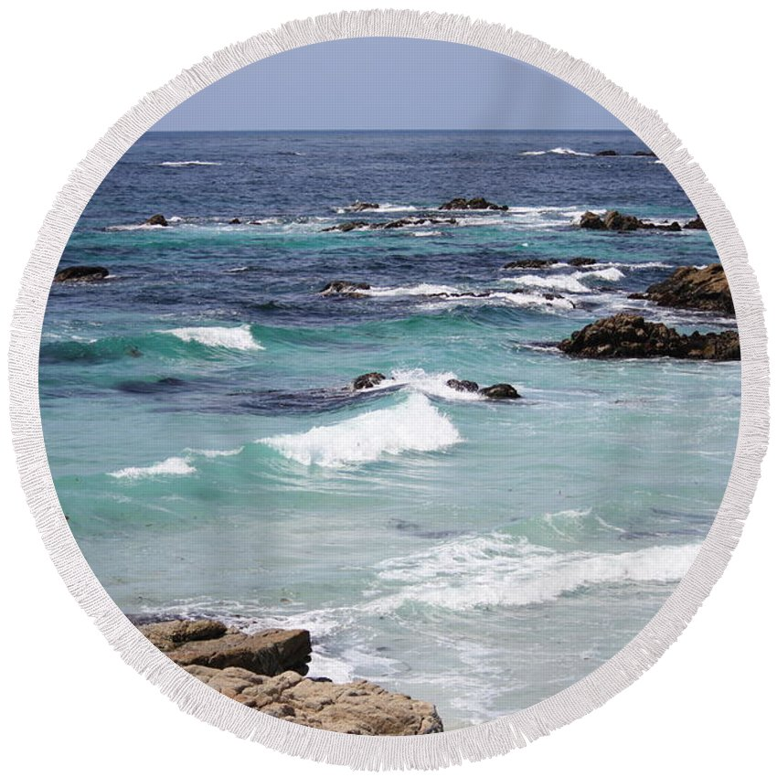 Blue Surf Round Beach Towel featuring the photograph Blue Surf by Carol Groenen