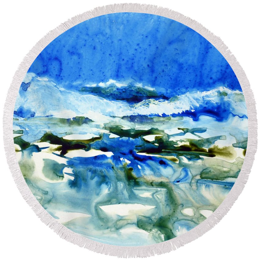 Ocean Round Beach Towel featuring the painting Blue Surf by Joan Hartenstein