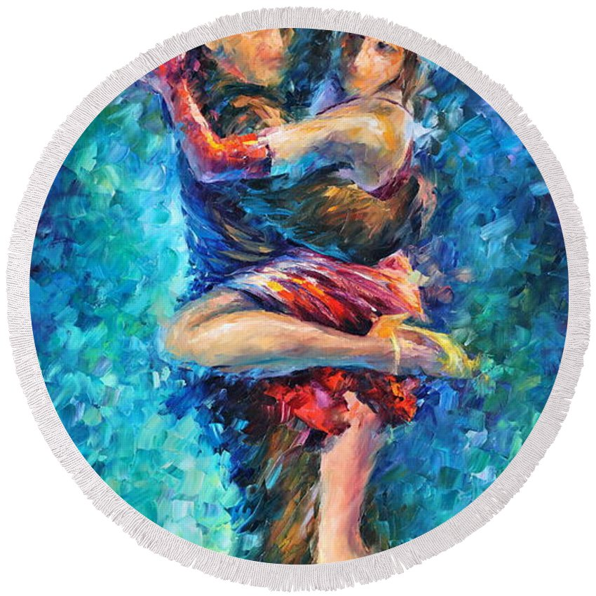 Afremov Round Beach Towel featuring the painting Blue Tango 1 by Leonid Afremov