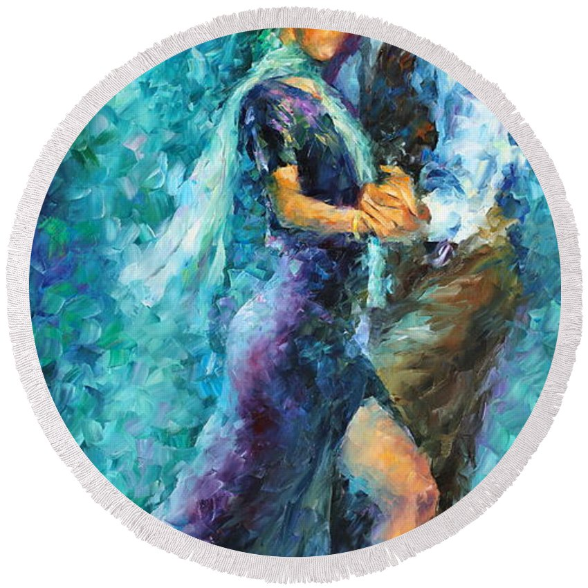Afremov Round Beach Towel featuring the painting Blue Tango 3 by Leonid Afremov