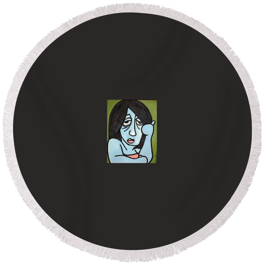 Portrait Round Beach Towel featuring the painting Blue by Thomas Valentine