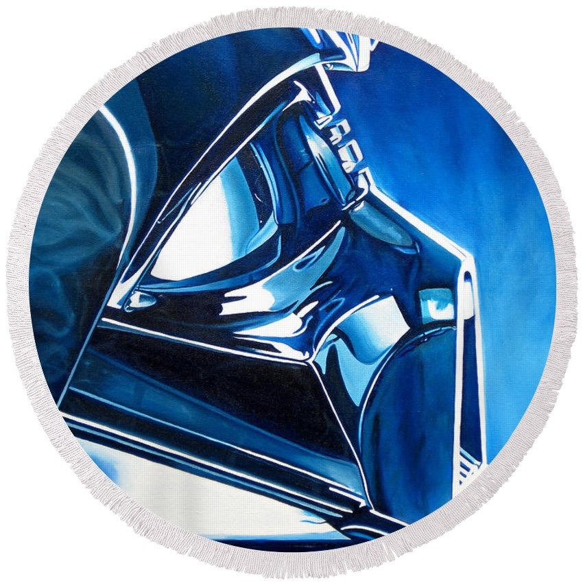 Star Wars Round Beach Towel featuring the painting Blue Vader by Joshua Morton