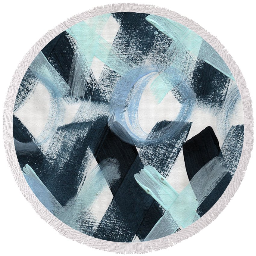 Love Round Beach Towel featuring the painting Blue Valentine- Abstract Painting by Linda Woods