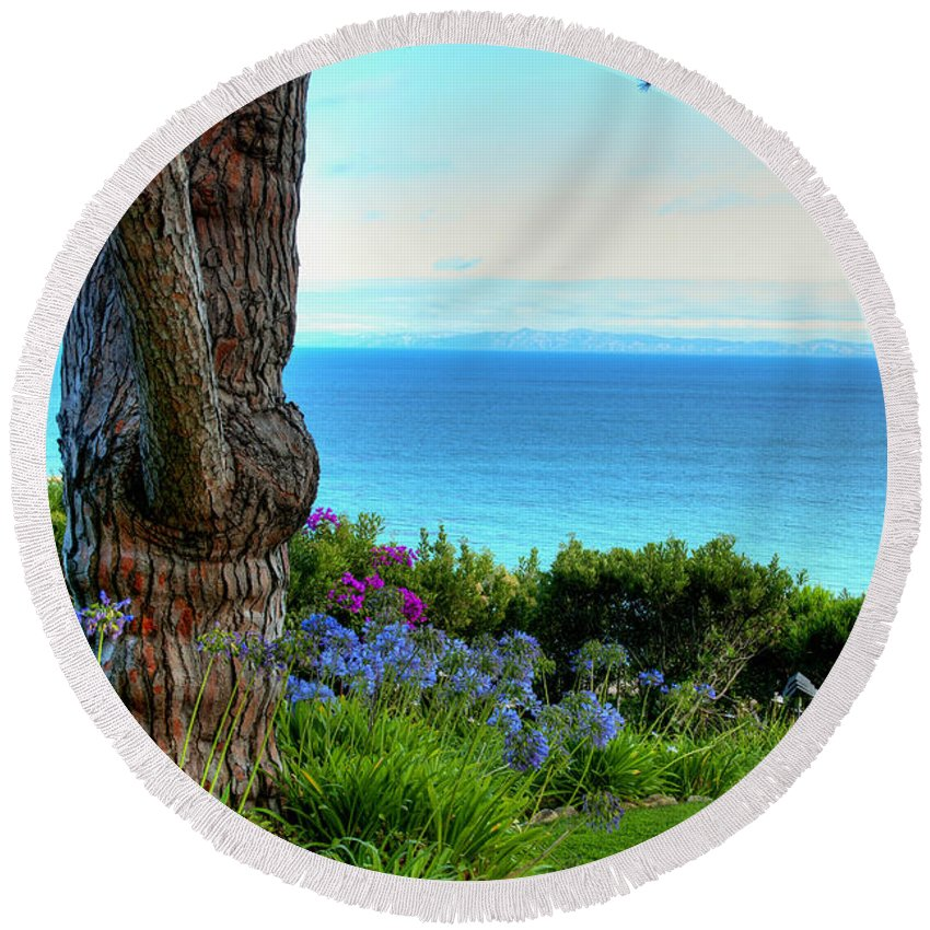 Diana Graves Round Beach Towel featuring the photograph Blue Waters In Palos Verdes California by K D Graves