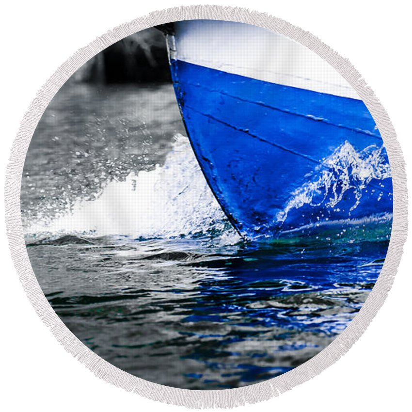 Abstract Round Beach Towel featuring the photograph Blue Waters by Sotiris Filippou