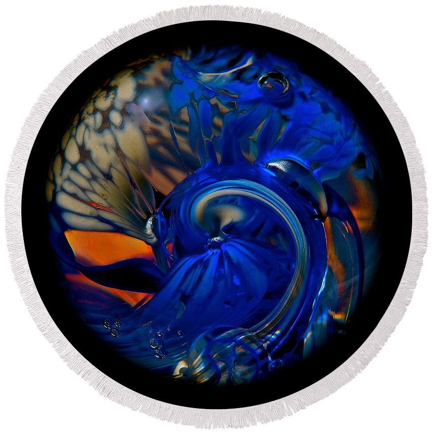 Blue Round Beach Towel featuring the photograph Blue Wave Swirl by Tim G Ross