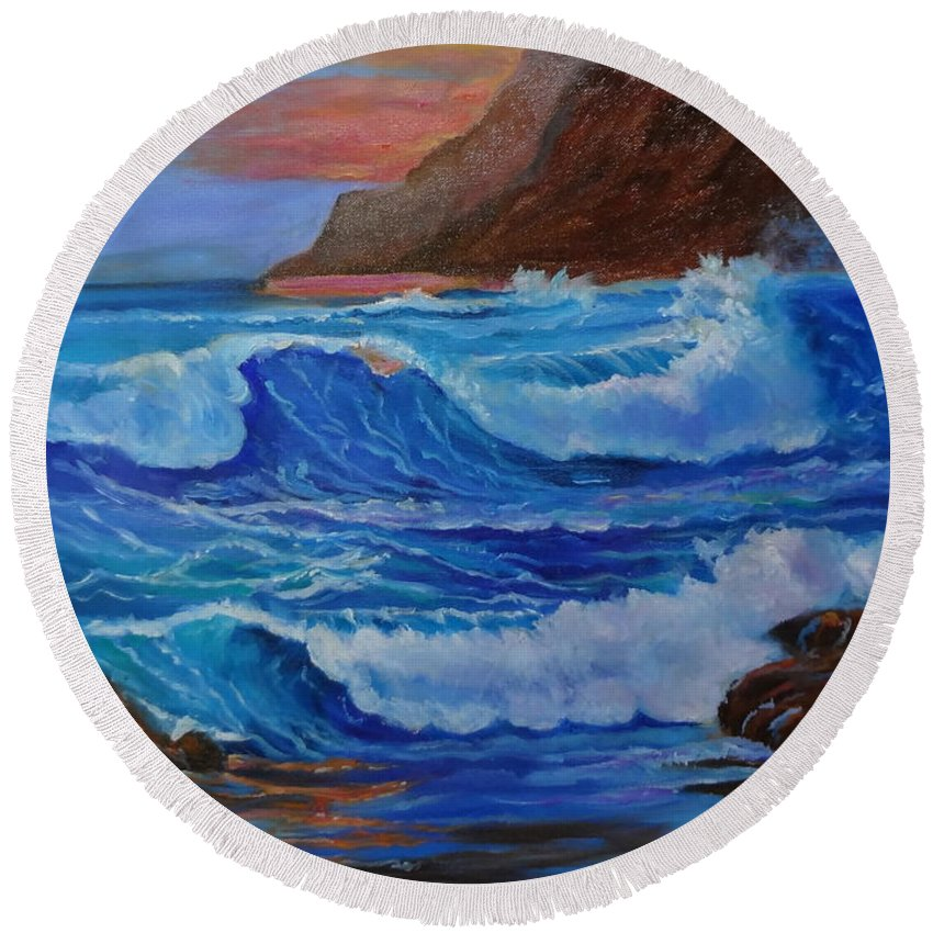 Waves Round Beach Towel featuring the painting Blue Waves Hawaii by Jenny Lee