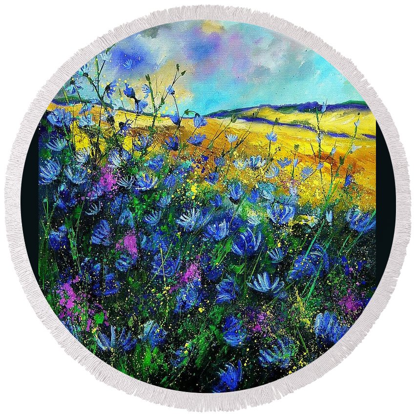 Flowers Round Beach Towel featuring the painting Blue Wild Chicorees by Pol Ledent