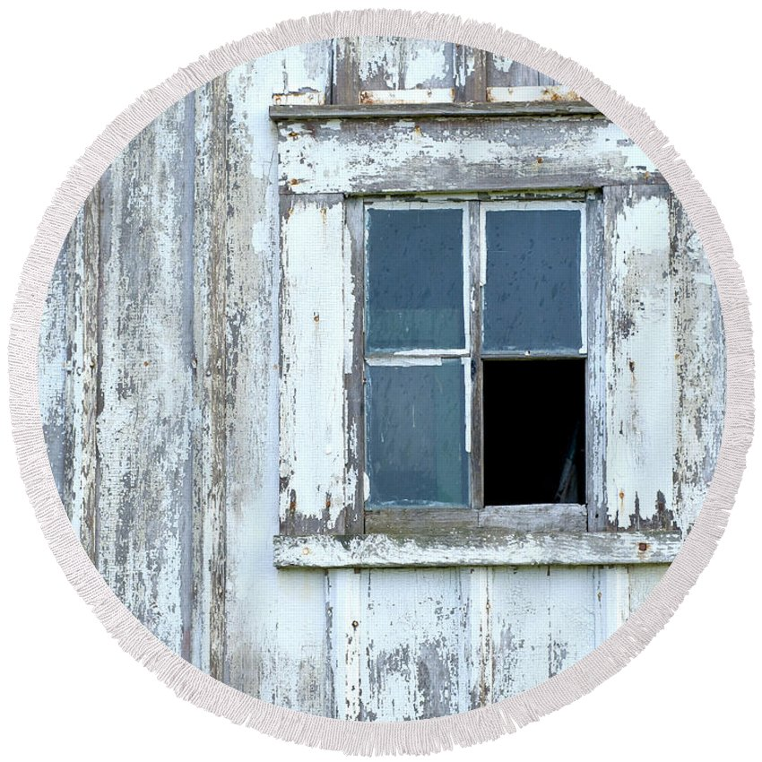 Window Round Beach Towel featuring the photograph Blue Window In Weathered Wall by Lynn Hansen
