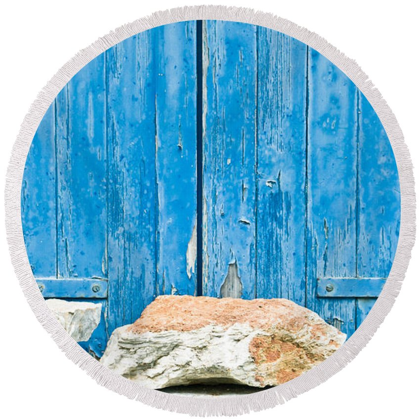 Antique Round Beach Towel featuring the photograph Blue Window Shutters by Tom Gowanlock
