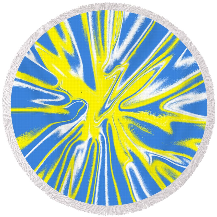 Blue Round Beach Towel featuring the digital art Blue Yellow White Swirl by Christopher Shellhammer