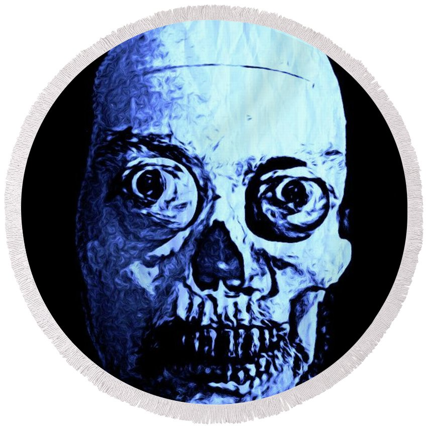Halloween Round Beach Towel featuring the digital art Blue Zombie by John Malone