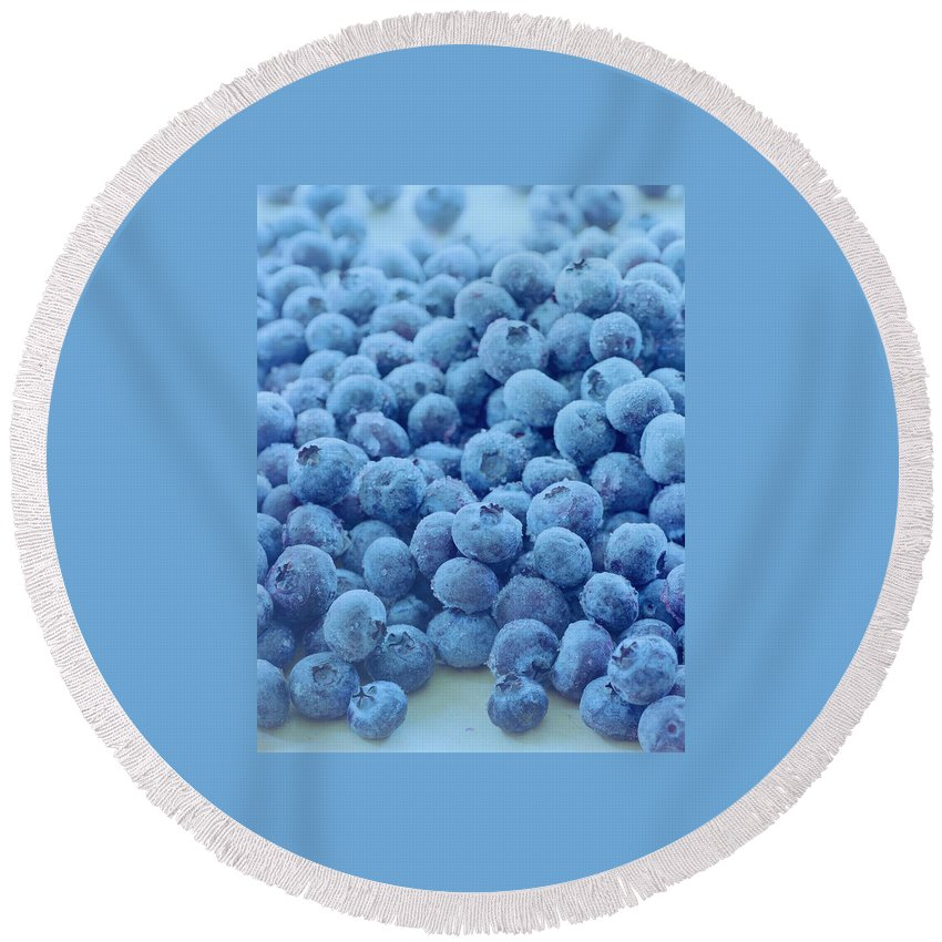 Berries Round Beach Towel featuring the photograph Blueberries by Romulo Yanes