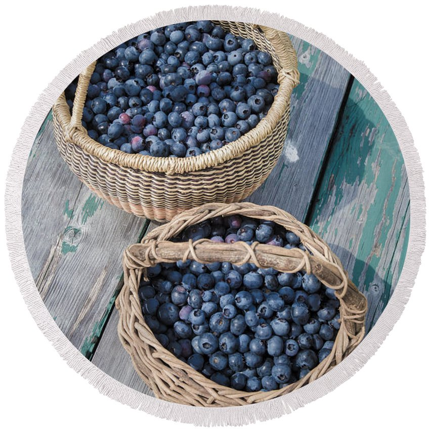 Picnic Round Beach Towel featuring the photograph Blueberry Baskets by Edward Fielding