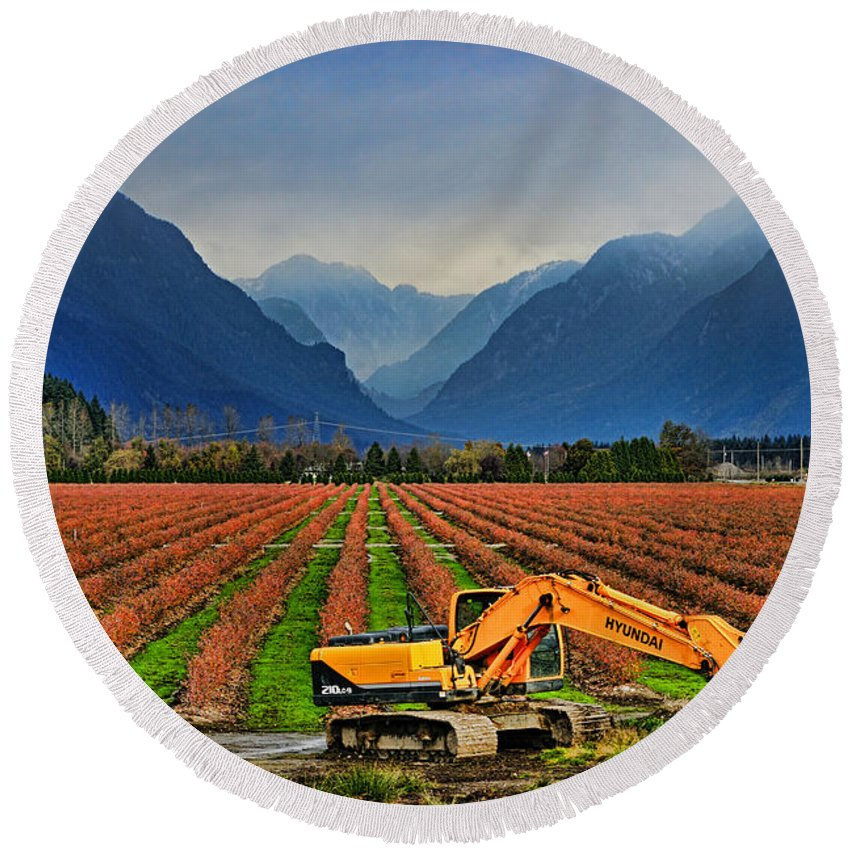Blueberry Fields Round Beach Towel featuring the photograph Blueberry Field Excavator by Randy Harris