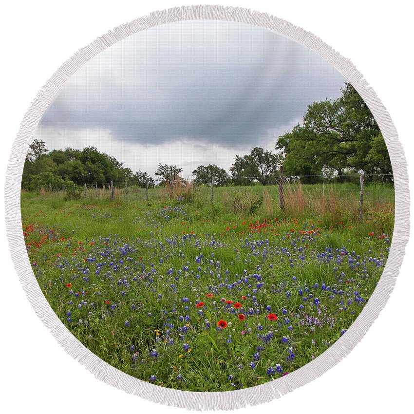 Wildflowers Round Beach Towel featuring the photograph Bluebonnet Hill by Lynn Bauer