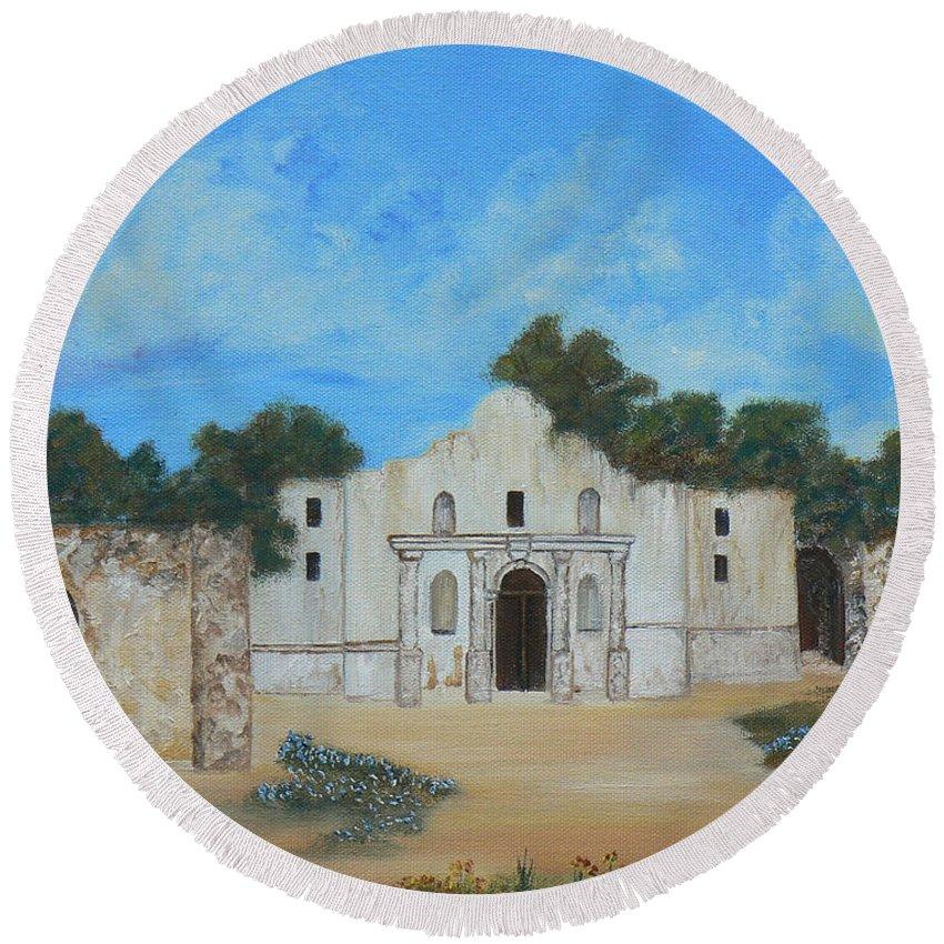 The Alamo. Bluebonnets. Landscape Round Beach Towel featuring the painting Bluebonnets At The Alamo by Cheryl Damschen