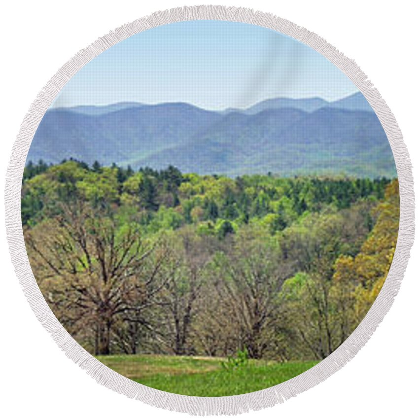 Landscapes. Printscapes Round Beach Towel featuring the photograph Blueridge Mountains In The Spring by Duane McCullough