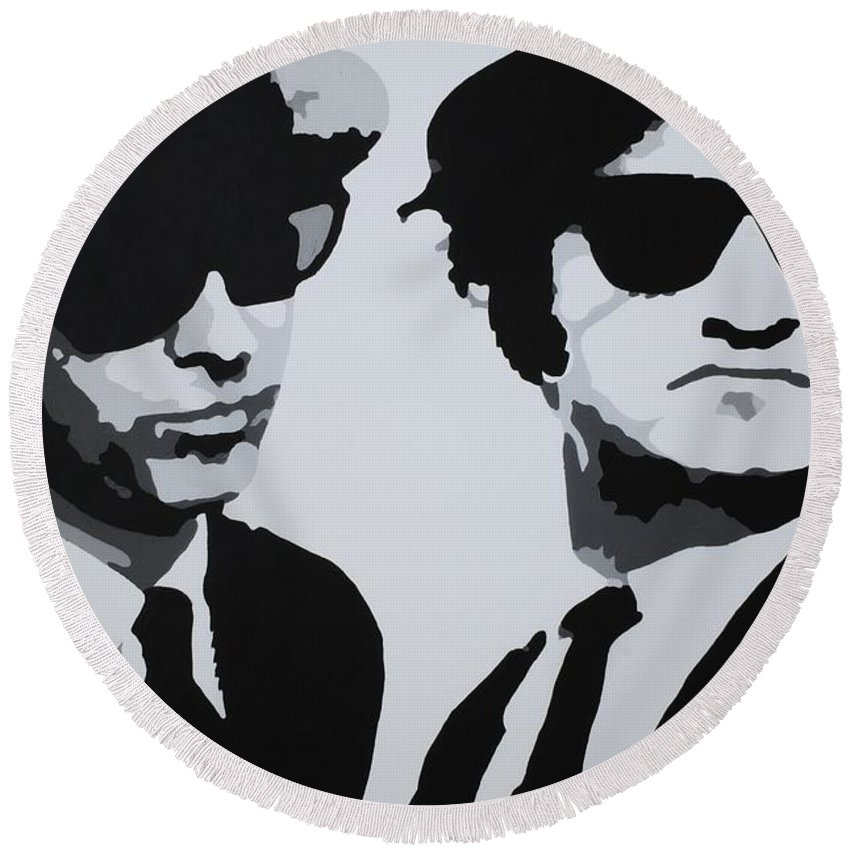 Blues Brothers Round Beach Towel featuring the painting Blues Brothers by Katharina Filus