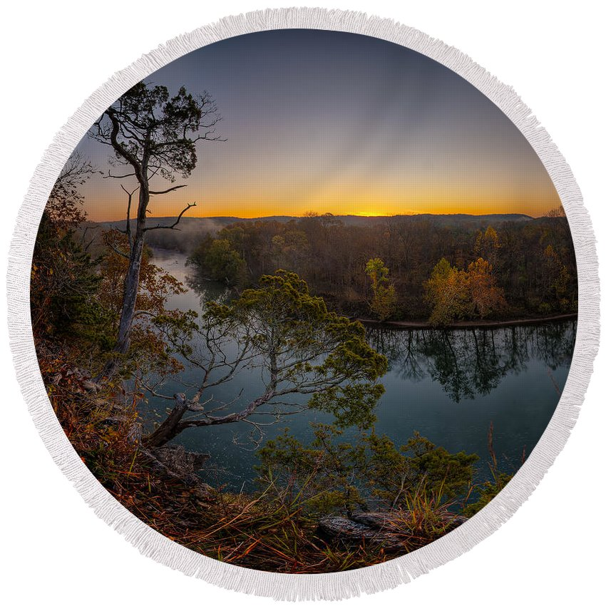2011 Round Beach Towel featuring the photograph Bluff View Of The Meramec by Robert Charity