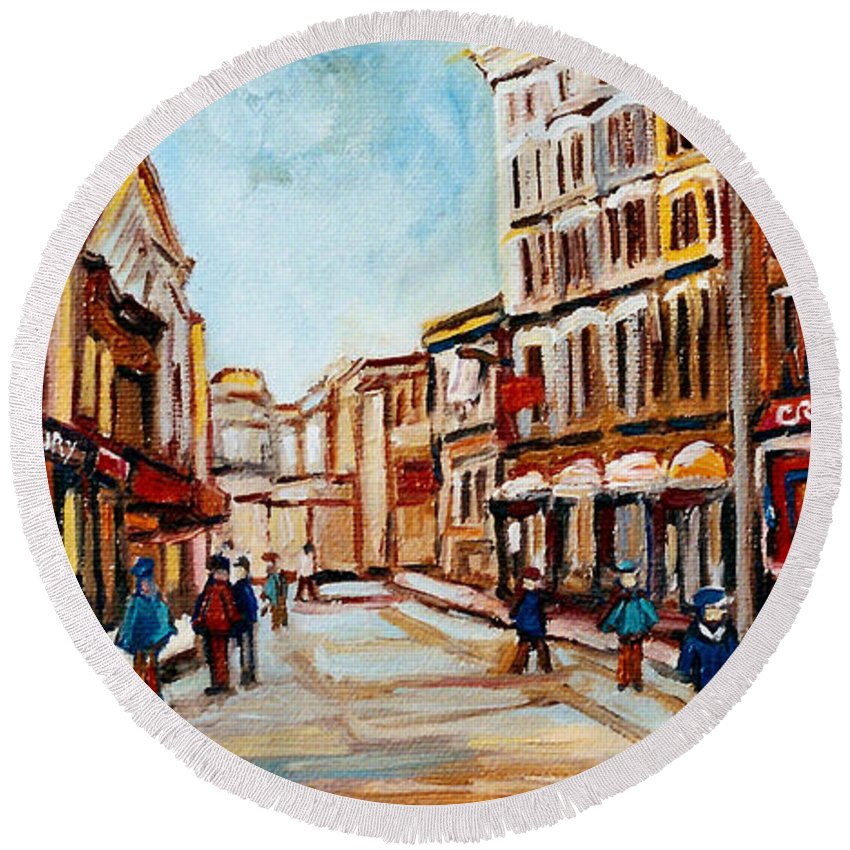 Montreal Round Beach Towel featuring the painting Blumenthals On Craig Street by Carole Spandau