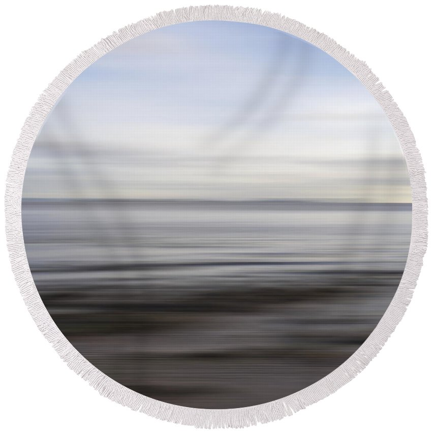 Abstract Round Beach Towel featuring the photograph Blurry Shoreline by Kevin Round