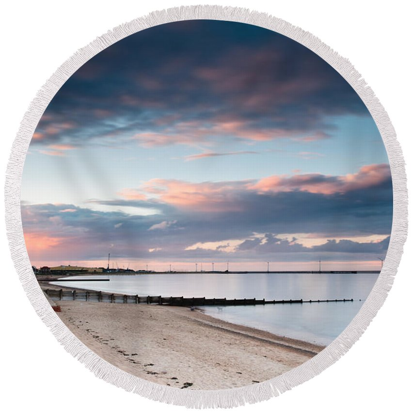 Northumberland Round Beach Towel featuring the photograph Blyth Harbour At Sunset by David Head