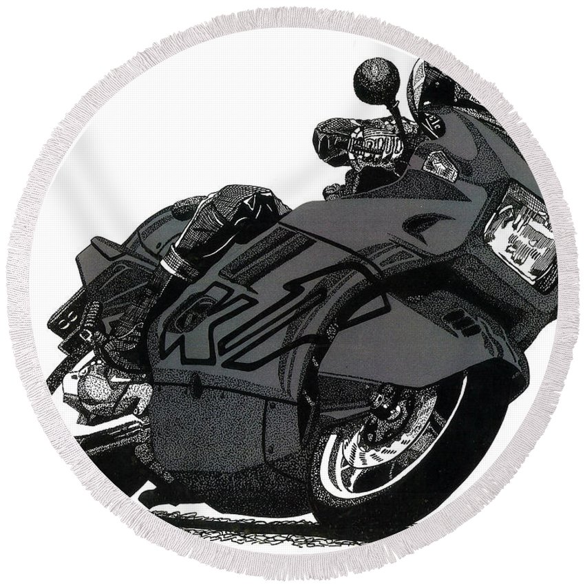 Motorcycle Round Beach Towel featuring the drawing Bmw K1 by Cory Still
