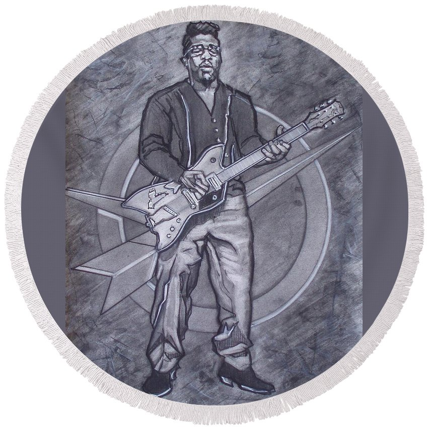 Texas;charcoal;king Of Rock;rock And Roll;music;1950s;blues;musician;funk;electric Guitar;marble;soul Round Beach Towel featuring the drawing Bo Diddley - Have Guitar Will Travel by Sean Connolly