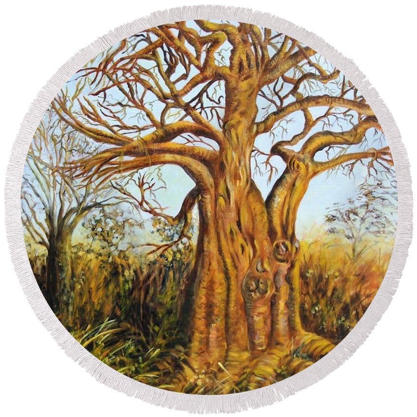 Trees Round Beach Towel featuring the painting Baobab Tree by Caroline Street