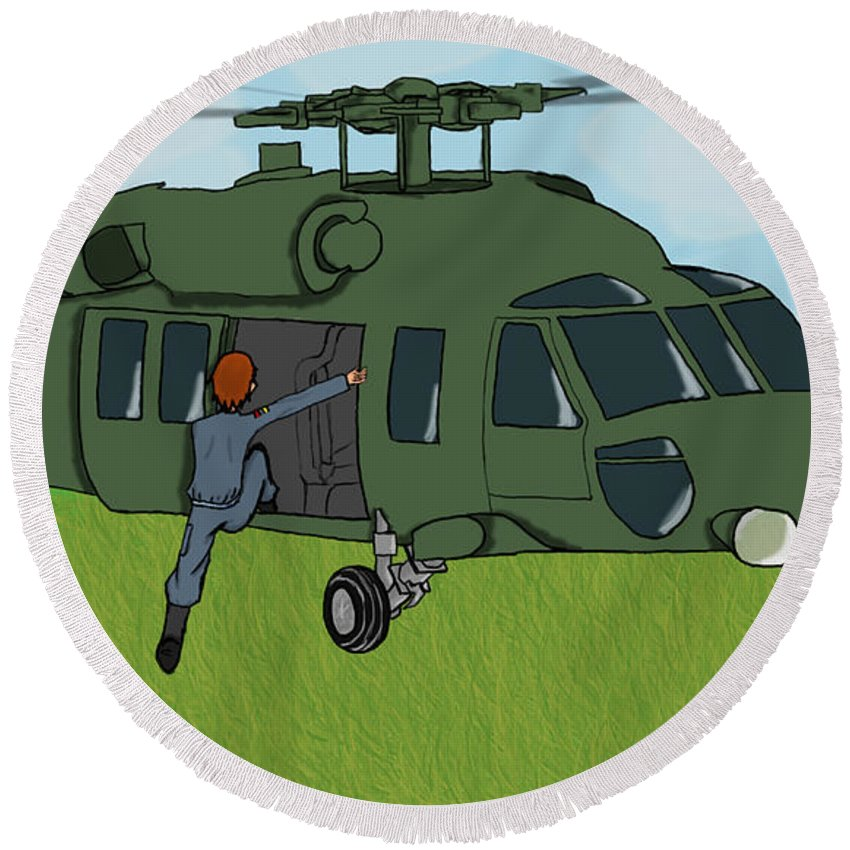 Helicopter Round Beach Towel featuring the digital art Boarding A Helicopter by Yael Rosen