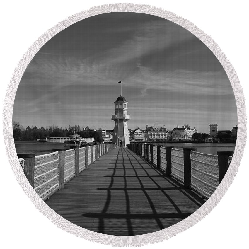 Black And White Round Beach Towel featuring the photograph Boardwalk Lighthouse 1 by Denise Mazzocco