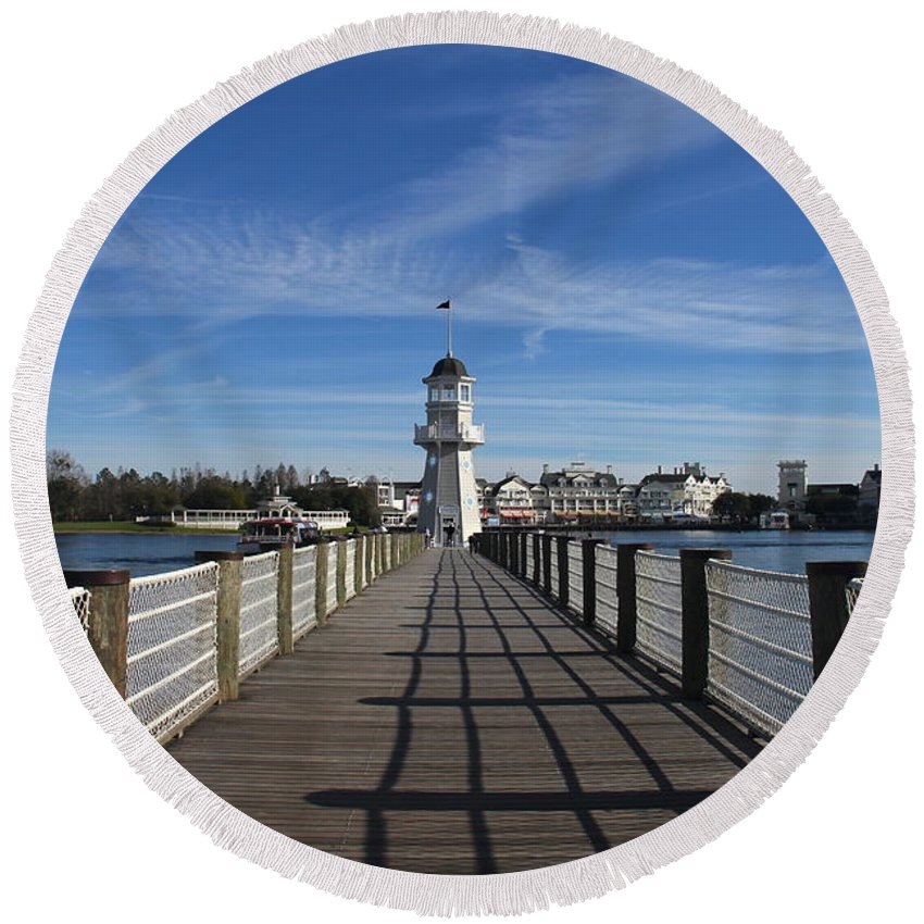 Lighthouse Round Beach Towel featuring the photograph Boardwalk Lighthouse by Denise Mazzocco