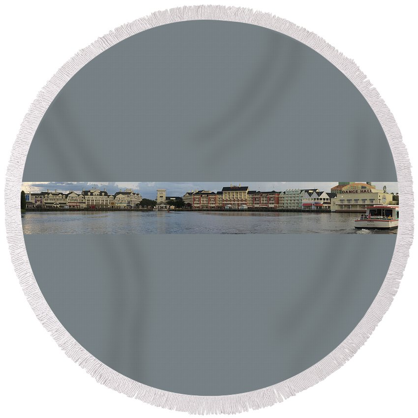 Panorama Round Beach Towel featuring the photograph Boardwalk Panorama Walt Disney World by Thomas Woolworth