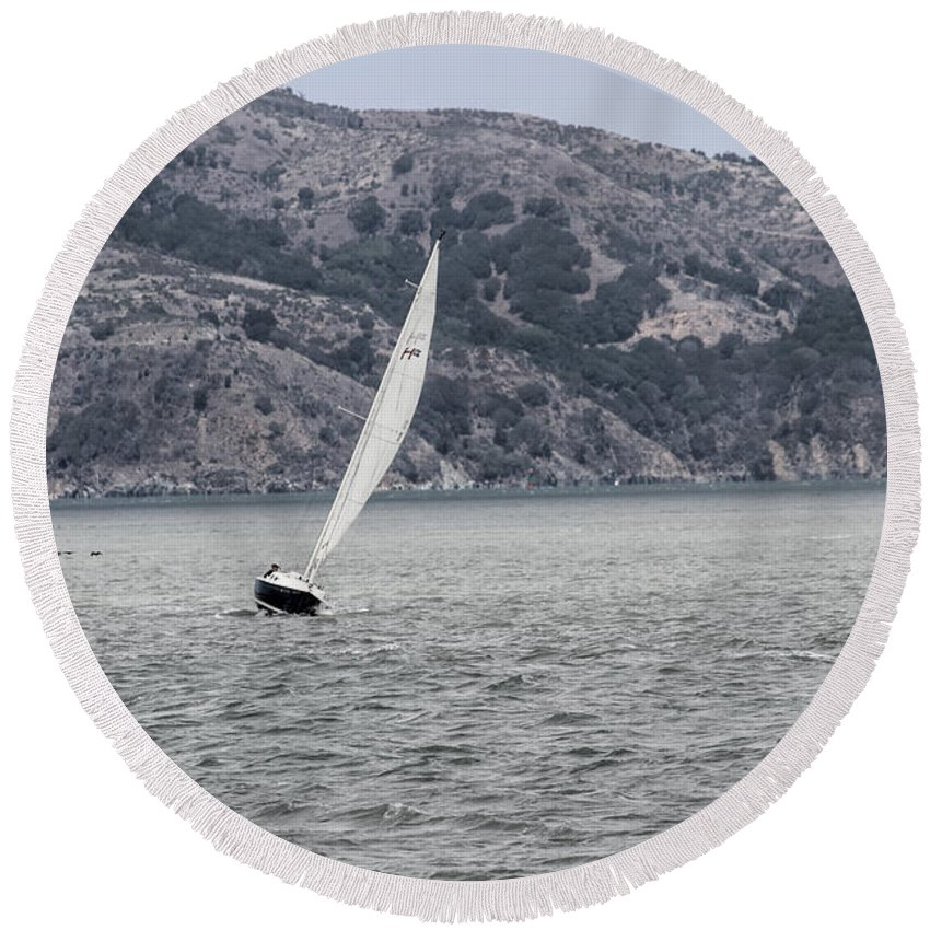 California Round Beach Towel featuring the photograph Boat by Becca Buecher