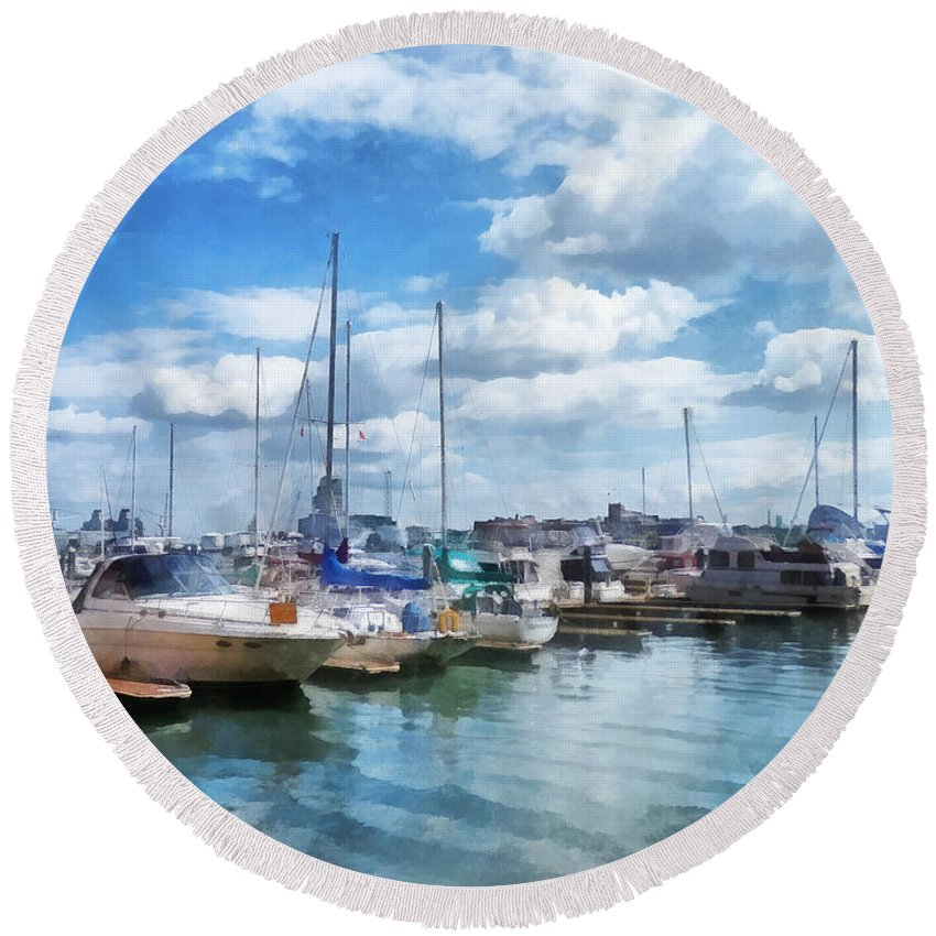 Boat Round Beach Towel featuring the photograph Boat - Boat Basin Fells Point by Susan Savad