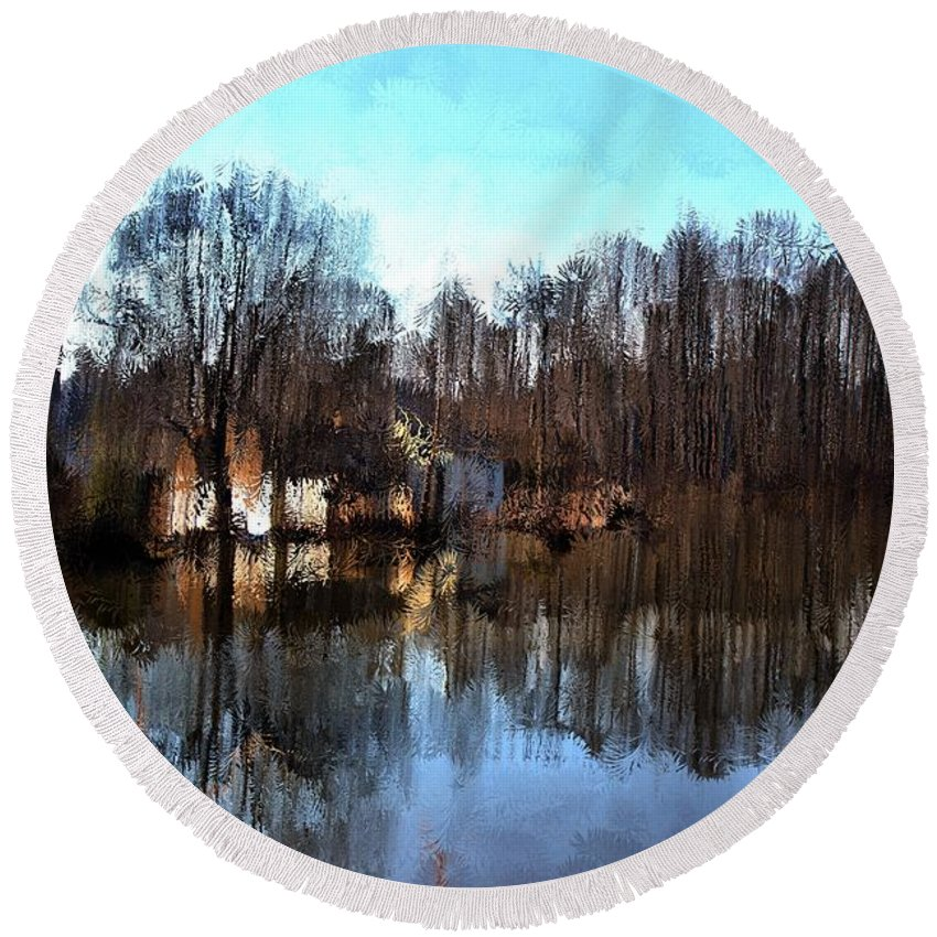 Landscape Round Beach Towel featuring the mixed media Boat House 2 by Terence Morrissey
