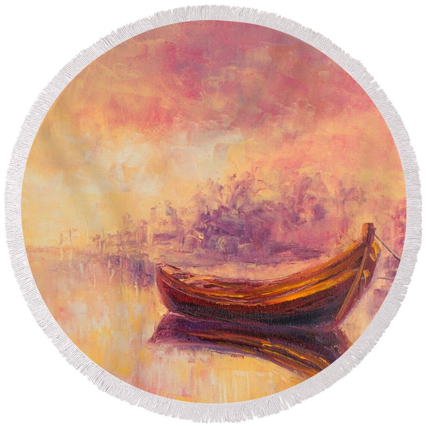 Boat Round Beach Towel featuring the painting Boat by Luke Karcz
