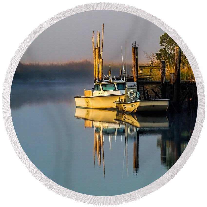 Creek Round Beach Towel featuring the photograph Boat On The Creek by Nick Zelinsky