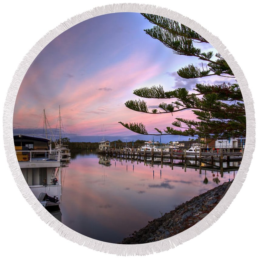 Sanctuary Cove Round Beach Towel featuring the photograph Boat Show by Darren Burton