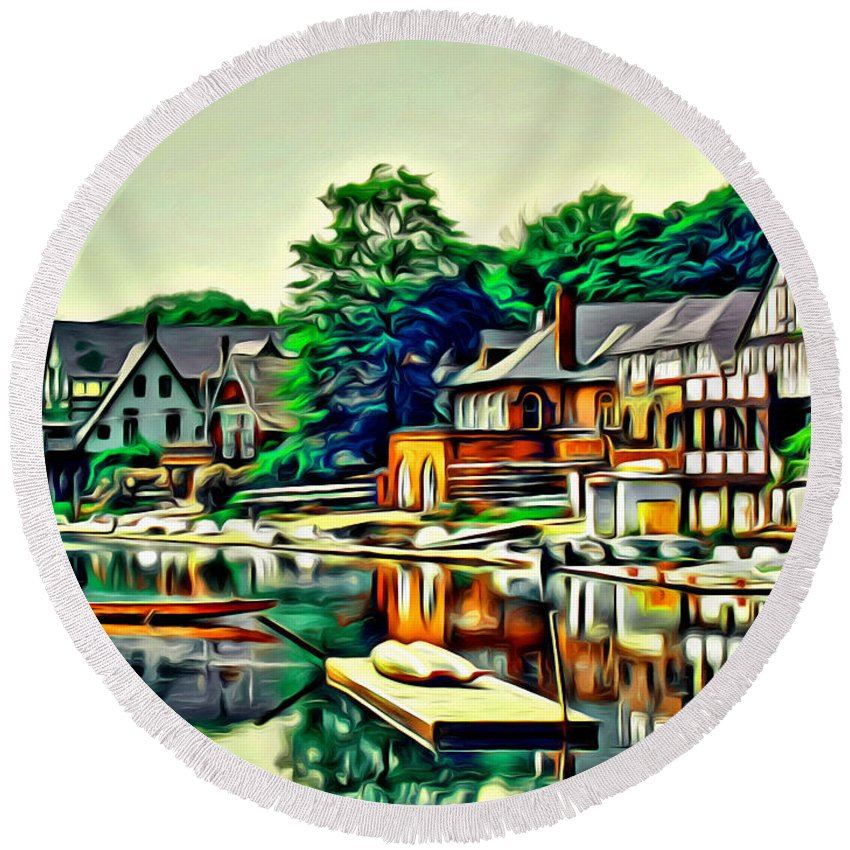 Boathouse Row Philadelphia Water Reflections Scenic Alicegipsonphotographs Round Beach Towel featuring the photograph Boathouse Color by Alice Gipson