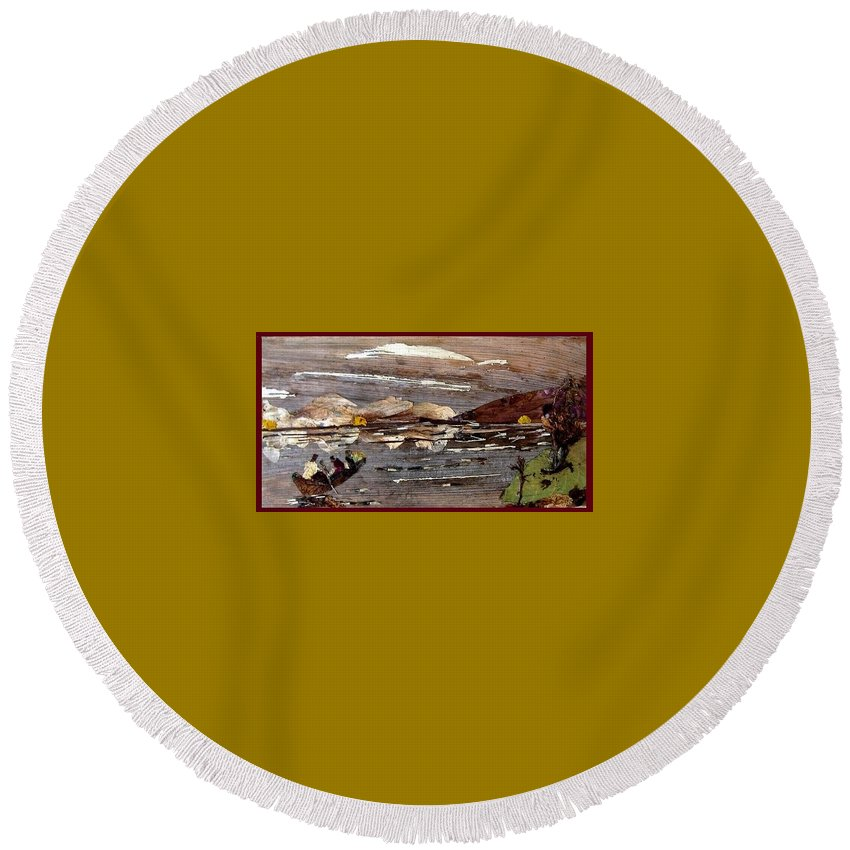 Boating Scene Round Beach Towel featuring the mixed media Boating in river by Basant Soni