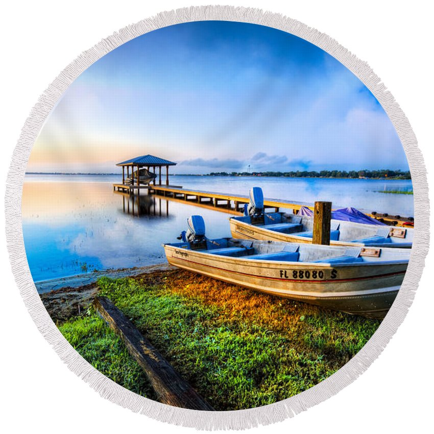 Boats Round Beach Towel featuring the photograph Boats At The Lake by Debra and Dave Vanderlaan