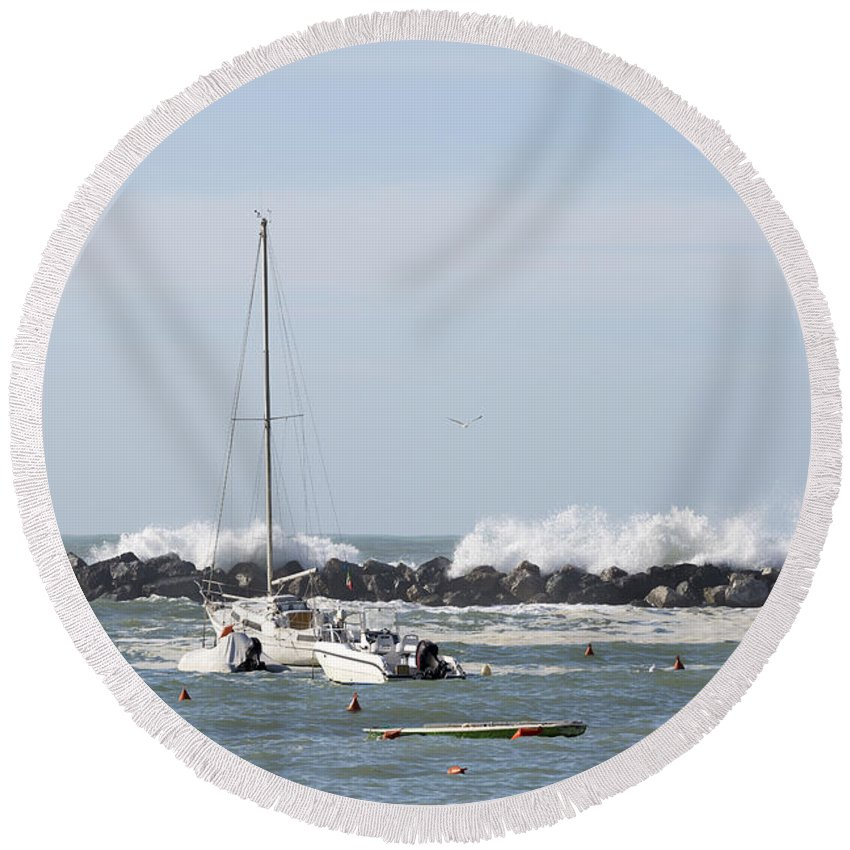 Boat Round Beach Towel featuring the photograph Boats In A Port by Mats Silvan