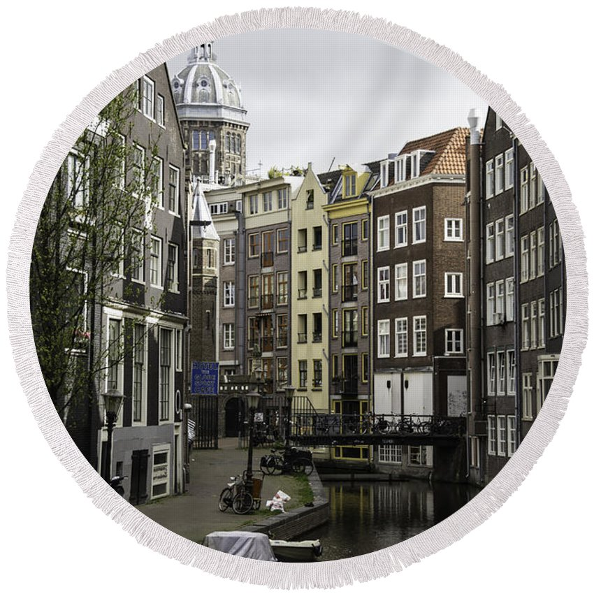 2014 Round Beach Towel featuring the photograph Boats In Canal Amsterdam by Teresa Mucha