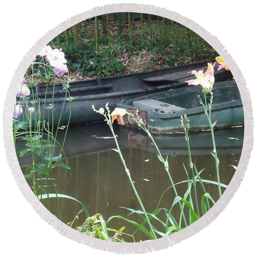 Giverny Round Beach Towel featuring the photograph Boats In Giverny by Barbie Corbett-Newmin