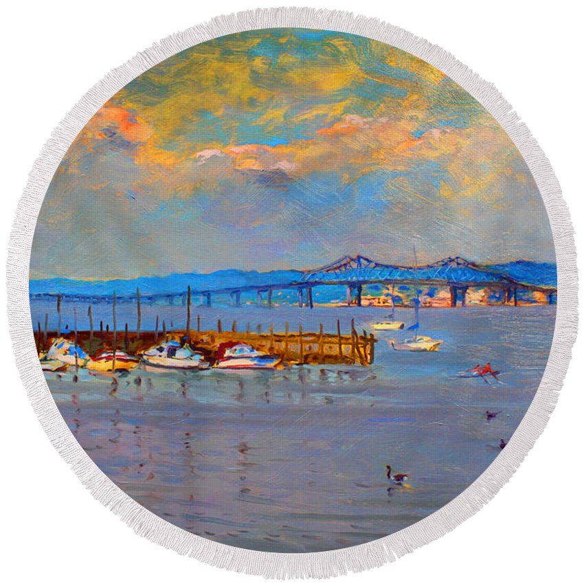 Piermont Ny Round Beach Towel featuring the painting Boats In Piermont Harbor Ny by Ylli Haruni
